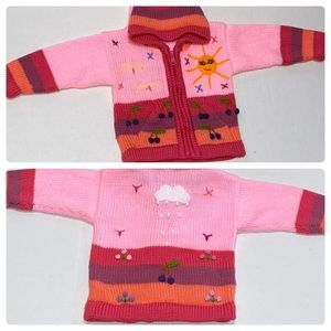 Other - RARE Hand Knitted Kid's ZIP Cardigan Sweater